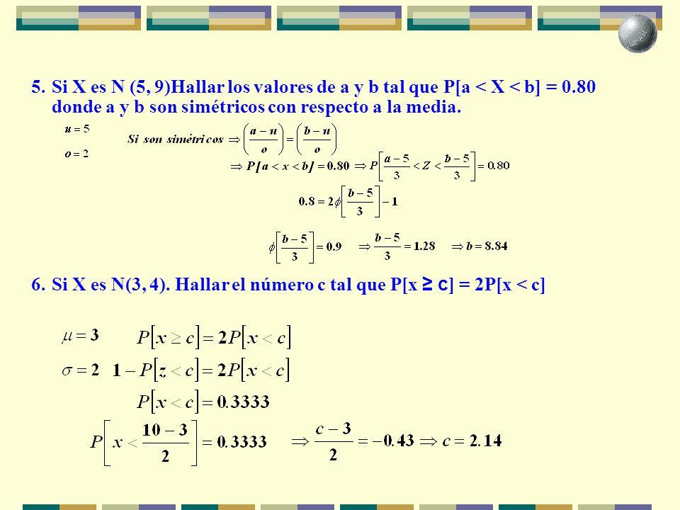 5. Si X es N (5, 9)Hallar los valores de a y b tal que P[a < X < b] = 0.80 donde a y b son simétricos con respecto a la media.